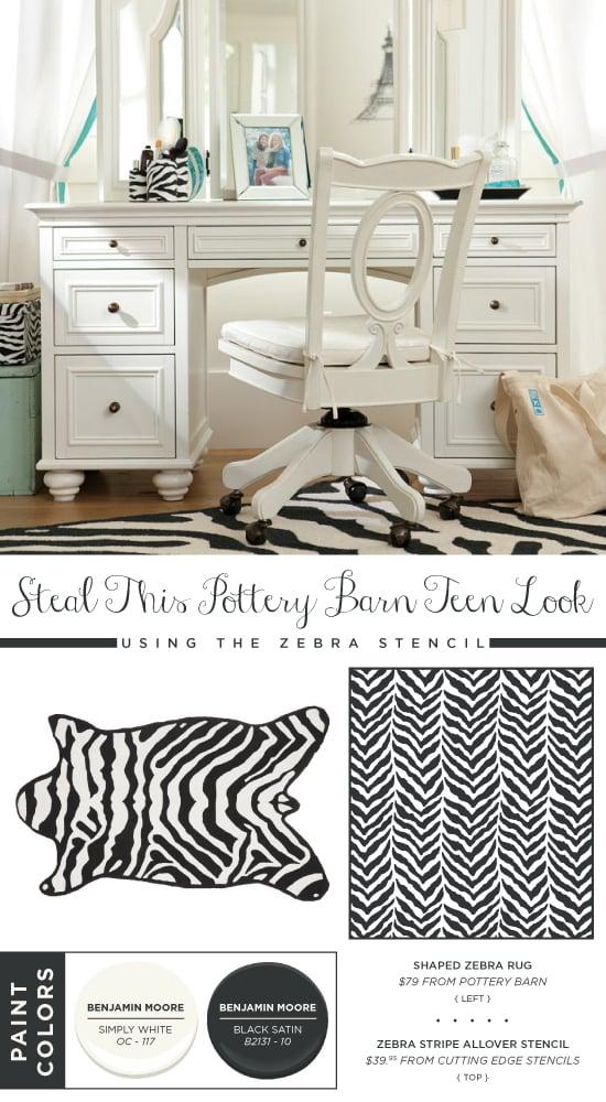Use the Zebra Allover Stencil to recreate this Pottery Barn Teen rug. http://www.cuttingedgestencils.com/zebra-stencil-pattern.html