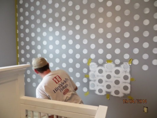 A Gray And White Polka Dot Stenciled Nursery Http Www Cuttingedgestencils