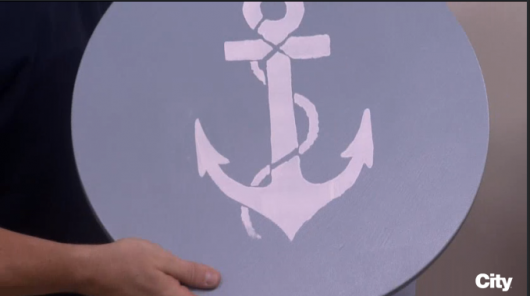 A DIY stenciled side table using the Anchor Stencil. Painted by Colin and Justin on CityLine. http://www.cuttingedgestencils.com/beach-decor-anchor-stencil.html
