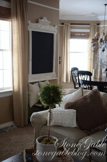 Before the Restoration Hardware curtains were stenciled with the Harmony Damask pattern. http://www.cuttingedgestencils.com/acanthus-damask-stencil.html