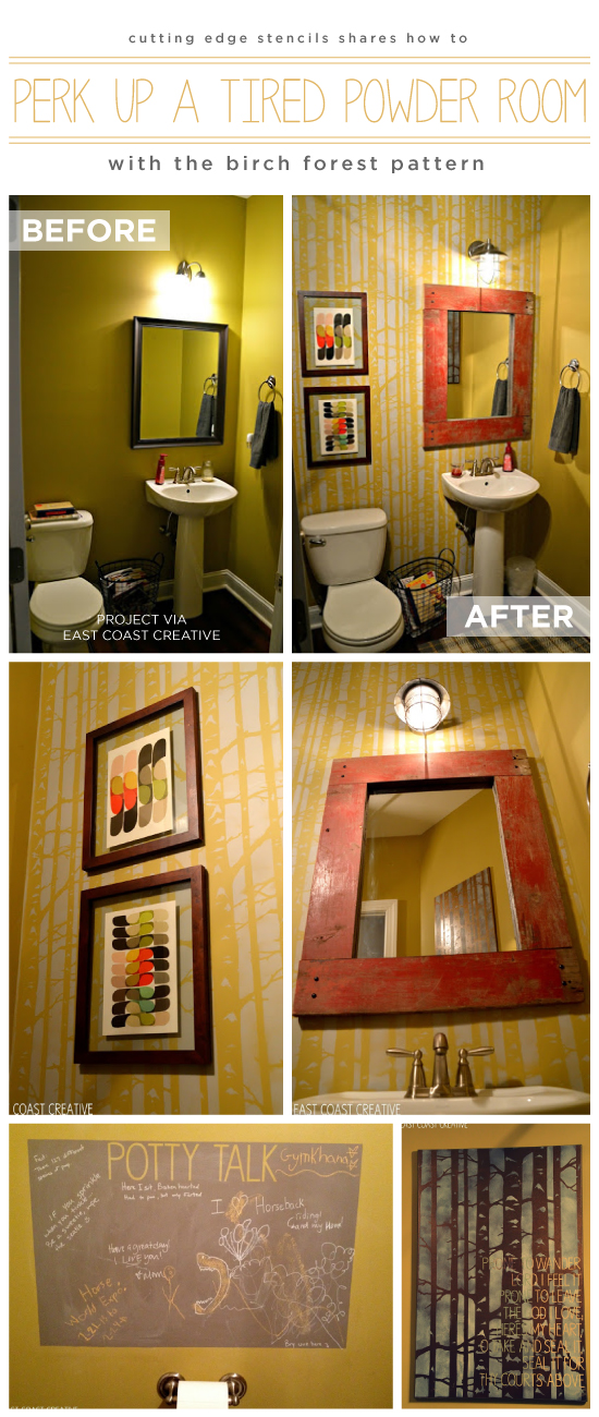Cutting Edge Stencils shares a DIY stenciled powder room using the Birch Forest Allover stencil pattern. http://www.cuttingedgestencils.com/allover-stencil-birch-forest.html