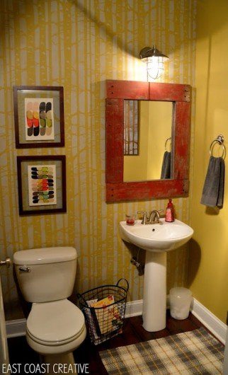 A DIY stenciled powder room using the Birch Forest Allover stencil pattern. http://www.cuttingedgestencils.com/allover-stencil-birch-forest.html