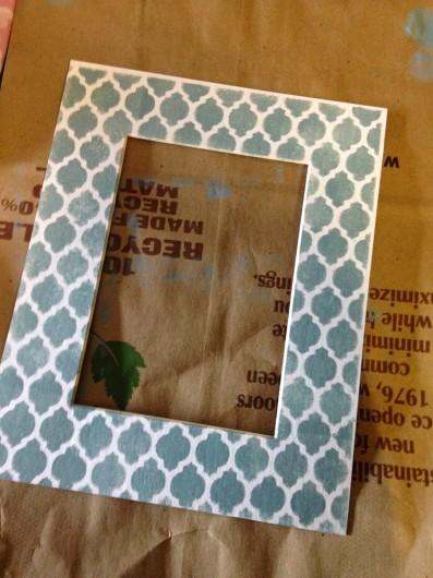 Stenciling a DIY frame using the Casablanca Card Stencil. http://www.cuttingedgestencils.com/casablanca-card-stencils-template.html