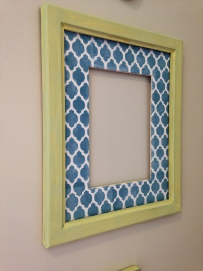 A DIY stenciled frame using the Casablanca Card Stencil. http://www.cuttingedgestencils.com/casablanca-card-stencils-template.html