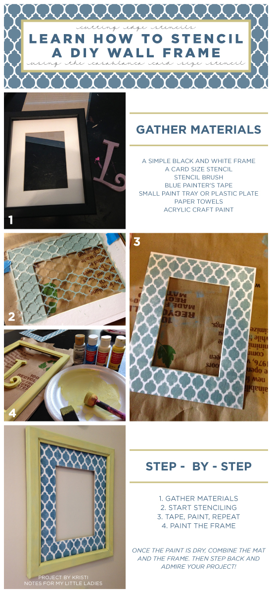 Stenciling Tutorial on how to stencila DIY frame using the Casablanca Card Stencil. http://www.cuttingedgestencils.com/casablanca-card-stencils-template.html