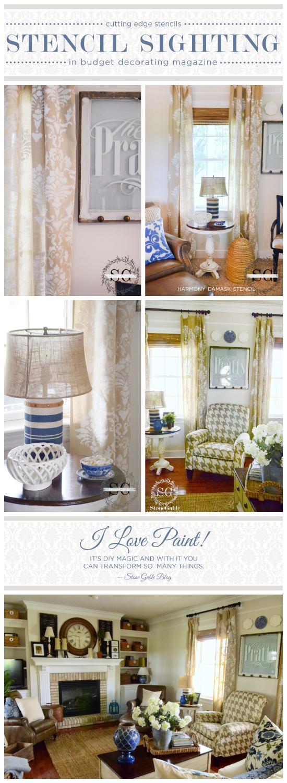 DIY stenciled curtains using the Harmony Damask stencil. http://www.cuttingedgestencils.com/acanthus-damask-stencil.html