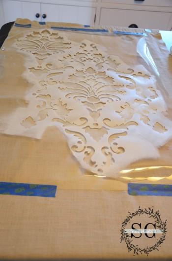 Stenciling the Harmony  Damask pattern on curtains. http://www.cuttingedgestencils.com/acanthus-damask-stencil.html