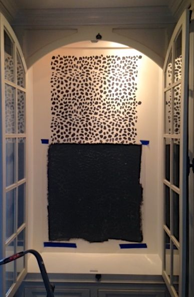 Stenciling the Leopard Skin allover pattern in a china cabinet. http://www.cuttingedgestencils.com/leopard-pattern-animal-skin-stencil.html
