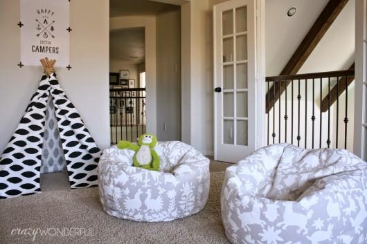 A DIY stenciled beanbag chair using the Otomi Allover stencil pattern. http://www.cuttingedgestencils.com/otomi-tribal-wall-pattern-stencil.html