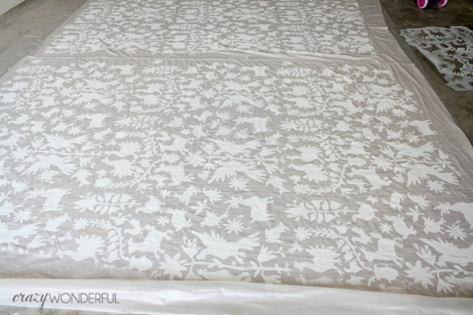 Stenciling with the Otomi tribal pattern on a drop cloth to create a bean bag. http://www.cuttingedgestencils.com/otomi-tribal-wall-pattern-stencil.html