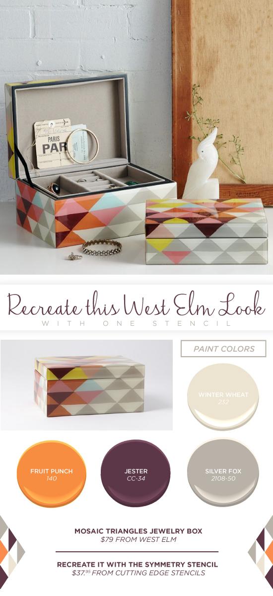 Recreate this West Elm jewelry box using the Symmetry Allover triangle stencil. http://www.cuttingedgestencils.com/symmetry-geometric-stencil-pattern.html