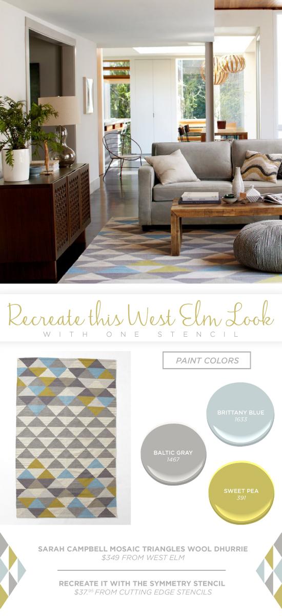 Recreate this West Elm rug using the Symmetry Allover triangle stencil. http://www.cuttingedgestencils.com/symmetry-geometric-stencil-pattern.html