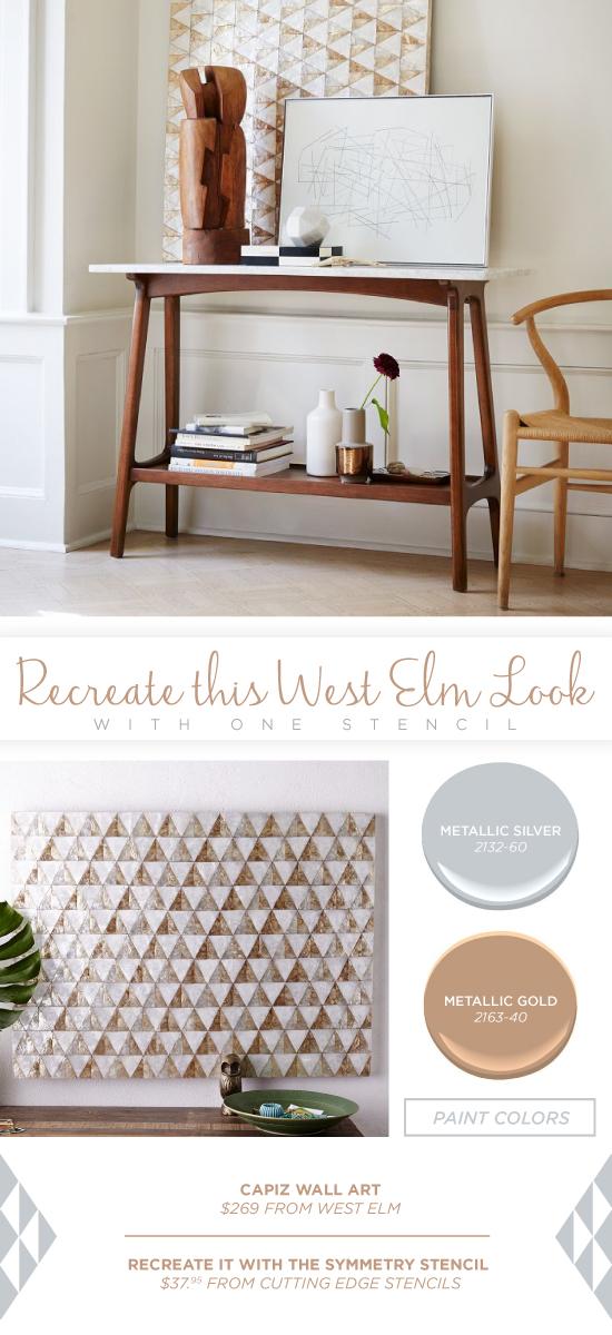 Recreate this West Elm wall artusing the Symmetry Allover triangle stencil. http://www.cuttingedgestencils.com/symmetry-geometric-stencil-pattern.html