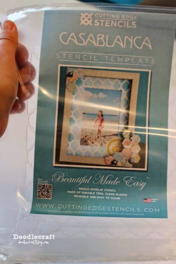 Stenciling a DIY decorative frame using the Casablanca Card Stencil template. http://www.cuttingedgestencils.com/casablanca-card-stencils-template.html