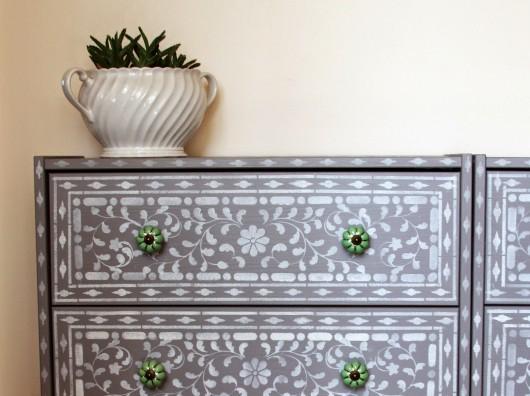 A DIY stenciled Ikea dresser using the Indian Inlay Stencil kit. http://www.cuttingedgestencils.com/indian-inlay-stencil-furniture.html
