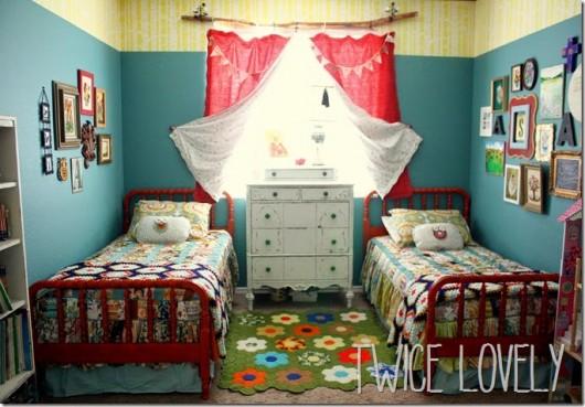 Stencils enhance a Bohemian Woodland themed shared bedroom. http://www.cuttingedgestencils.com/allover-stencil-birch-forest.html