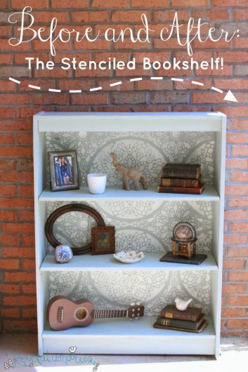 A DIY stenciled bookshelf using the Charlotte Allover lace like stencil. http://www.cuttingedgestencils.com/charlotte-allover-stencil-pattern.html