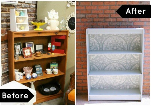 Before and After of a stenciled bookcase using the Charlotte Allover stencil pattern. http://www.cuttingedgestencils.com/charlotte-allover-stencil-pattern.html