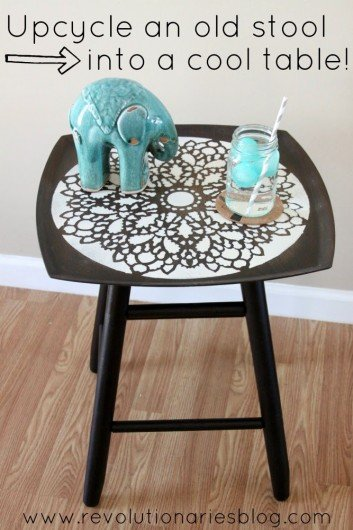 Upcyle an old stool into a stenciled table using the charlotte allover stencil. http://www.cuttingedgestencils.com/charlotte-allover-stencil-pattern.html