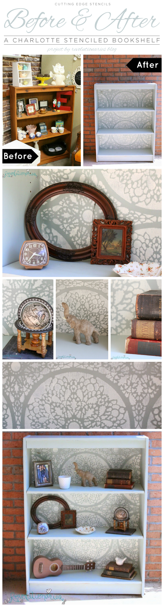 Cutting Edge Stencils shares a DIY stenciled bookshelf using the Charlotte Allover lace like stencil. http://www.cuttingedgestencils.com/charlotte-allover-stencil-pattern.html