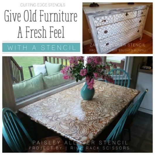 Cutting Edge Stencils shares DIY stenciled furniture ideas using stencil patterns.  http://www.cuttingedgestencils.com/paisley-allover-stencil.html