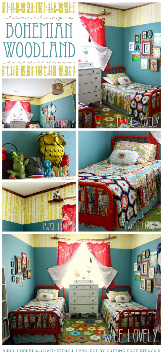 Cutting Edge Stencils shares a Bohemian Woodland themed shared bedroom using the Birch Forest Allover pattern. http://www.cuttingedgestencils.com/allover-stencil-birch-forest.html