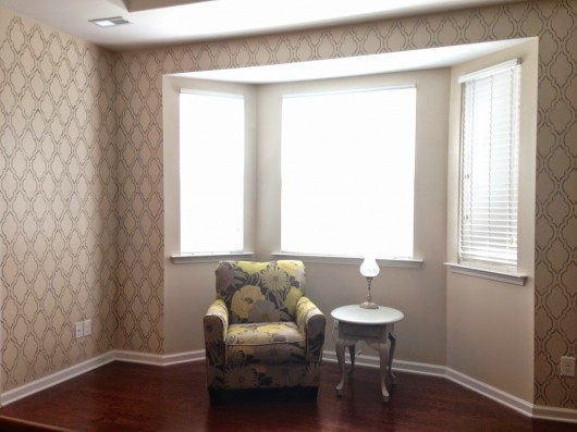 Cutting Edge Stencils shares a diy stenciled bedroom nook using the Sophia Trellis Allover pattern. http://www.cuttingedgestencils.com/sophia-trellis-stencil-geometric-wall-pattern.html