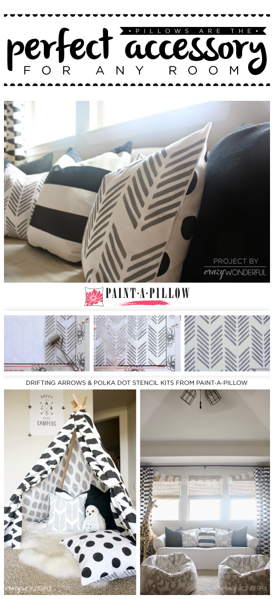 Paint-A-Pillow shares two DIY stenciled pillows using the Drifting Arrows paint-a-pillow kit and Polka Dot stencil pattern. http://paintapillow.com/index.php/drifting-arrows-paint-a-pillow-kit.html