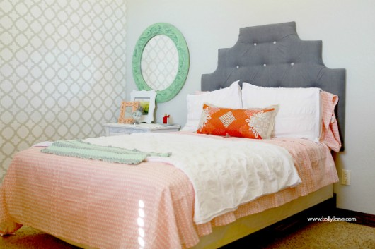 A gray stenciled teen bedroom makeover using the Moroccan Tiles Stencils pattern in Timberwolf by Dutch Boy. http://www.cuttingedgestencils.com/moroccan-tiles-wall-pattern.html