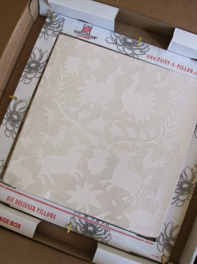 Stenciling with the Otomi Paint-A-Pillow kit. http://paintapillow.com/index.php/otomi-roosters-paint-a-pillow-kit.html