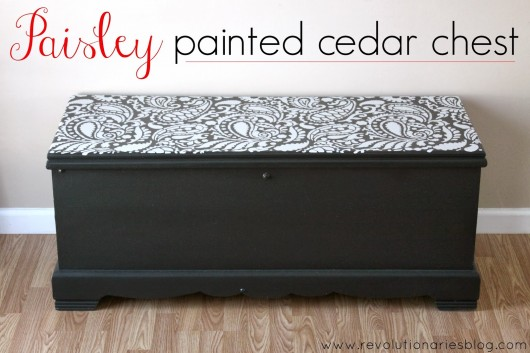 Cutting Edge Stencils shares a DIY stenciled chest using the Paisley Allover pattern. http://www.cuttingedgestencils.com/paisley-allover-stencil.html