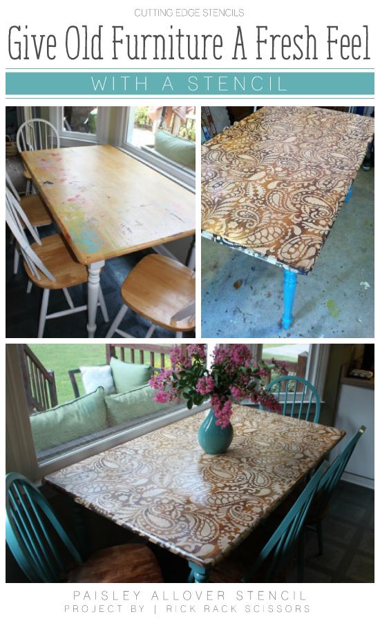 DIY stenciled table using the Paisley Allover Stencil. http://www.cuttingedgestencils.com/paisley-allover-stencil.html