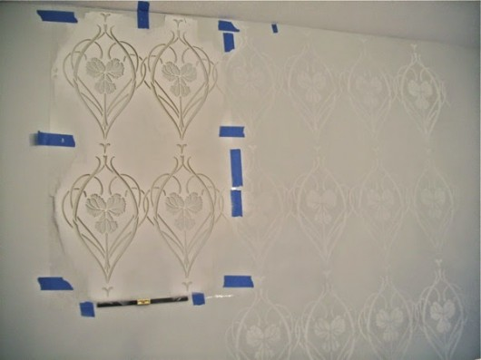 Stenciling the Rachel's Garden Stencil on an accent wall in a Hollywood Regency bedroom. http://www.cuttingedgestencils.com/stencil-allover-pattern-2.html