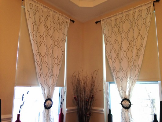 DIY stenciled dining room curtains with the Sophia Trellis stencil and a paint pen. http://www.cuttingedgestencils.com/sophia-trellis-stencil-geometric-wall-pattern.html