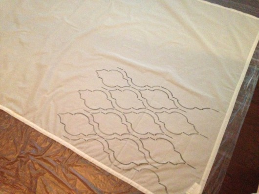 Stenciling curtains with the Sophia Trellis stencil and a paint pen. http://www.cuttingedgestencils.com/sophia-trellis-stencil-geometric-wall-pattern.html