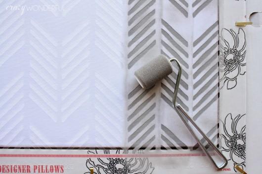 Stenciling a DIY custom pillow using the Drifting Arrows Paint-A-Pillow kit. http://paintapillow.com/index.php/drifting-arrows-paint-a-pillow-kit.html