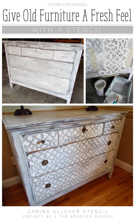 A DIY stenciled dresser using the Zamira Allover stencil pattern. http://www.cuttingedgestencils.com/moroccan-stencil-designs.html