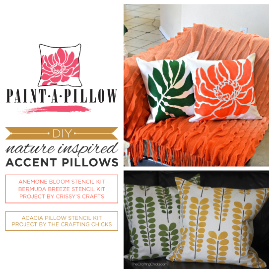 Paint-A-Pillow shares DIY stenciled accent pillows using nature inspired stencil designs. http://paintapillow.com/index.php/paint-a-pillow-kits/nature-inspired-diy-accent-pillows.html