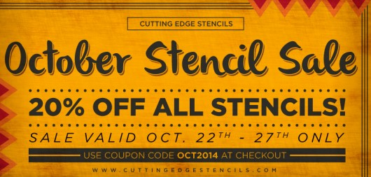 Cutting Edge Stencils October Stencil Sale. Take 20% off all stencils using the code OCT2014. http://www.cuttingedgestencils.com/wall-stencils.html