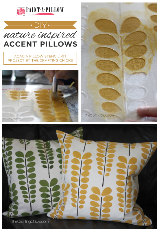 Paint-A-Pillow shares DIY stenciled accent pillows using nature inspired stencil designs like the Acacia. http://paintapillow.com/index.php/paint-a-pillow-kits/nature-inspired-diy-accent-pillows.html