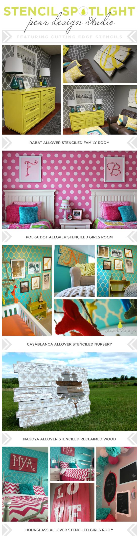 Cutting Edge Stencils shares DIY stenciled room ideas from Pear Design Studio. http://www.cuttingedgestencils.com/wall-stencils-stencil-designs.html