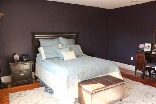 A before shot of a stenciled bedroom. http://www.cuttingedgestencils.com/damask-stencil-pattern.html