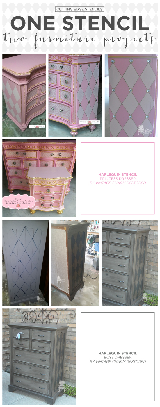 Cutting Edge Stencils Shares DIY Furniture Makeovers Using The Harlequin  Allover Stencil Pattern. Http:
