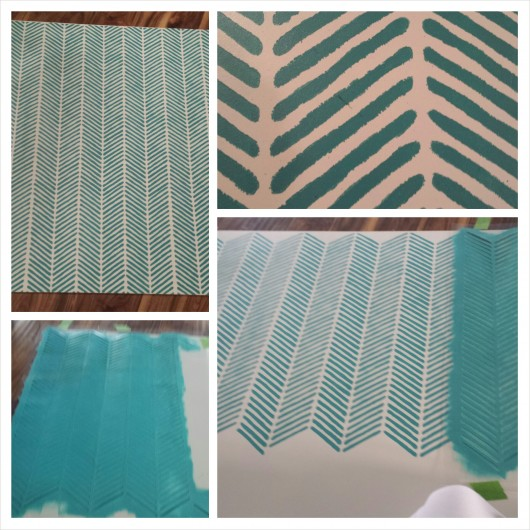 Stenciling the Herringbone Stitch Allover pattern on the back of a hutch. http://www.cuttingedgestencils.com/herringbone-stitch-allover-pattern-wall-stencil.html