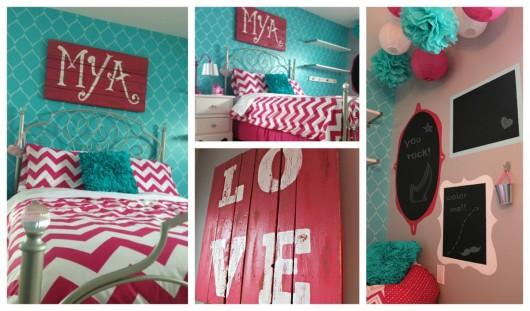 A DIY stenciled girl's bedroom using the Hourglass Allover Stencil pattern. http://www.cuttingedgestencils.com/modern-stencil.html