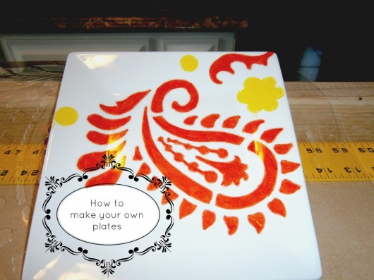 A DIY stenciled plate idea using the Paisley Allover pattern and sharpies. http://www.cuttingedgestencils.com/paisley-allover-stencil.html