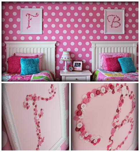 A DIY stenciled girls room idea using the Polka Dot Allover Stencil. http://www.cuttingedgestencils.com/polka-dots-stencils-nursery.html
