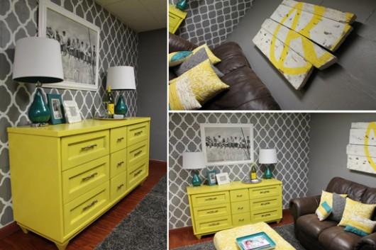 A DIY stenciled accent wall using the Rabat Allover Stencil pattern. http://www.cuttingedgestencils.com/moroccan-stencil-pattern-3.html