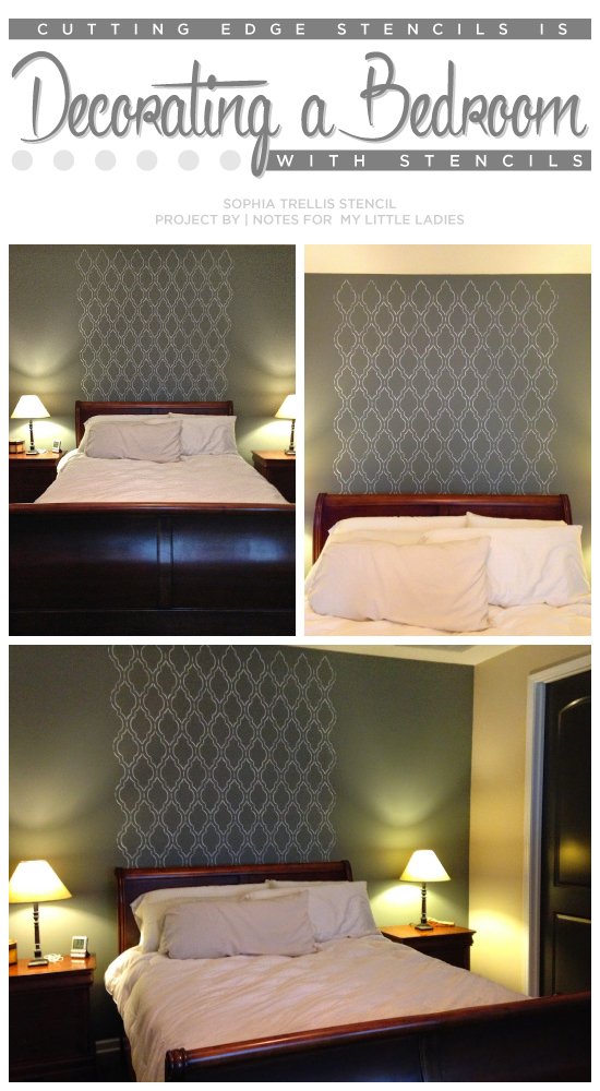 Cutting Edge Stencils Shares A DIY Stenciled Bedroom Accent Wall Using The  Sophia Trellis Allover Stencil
