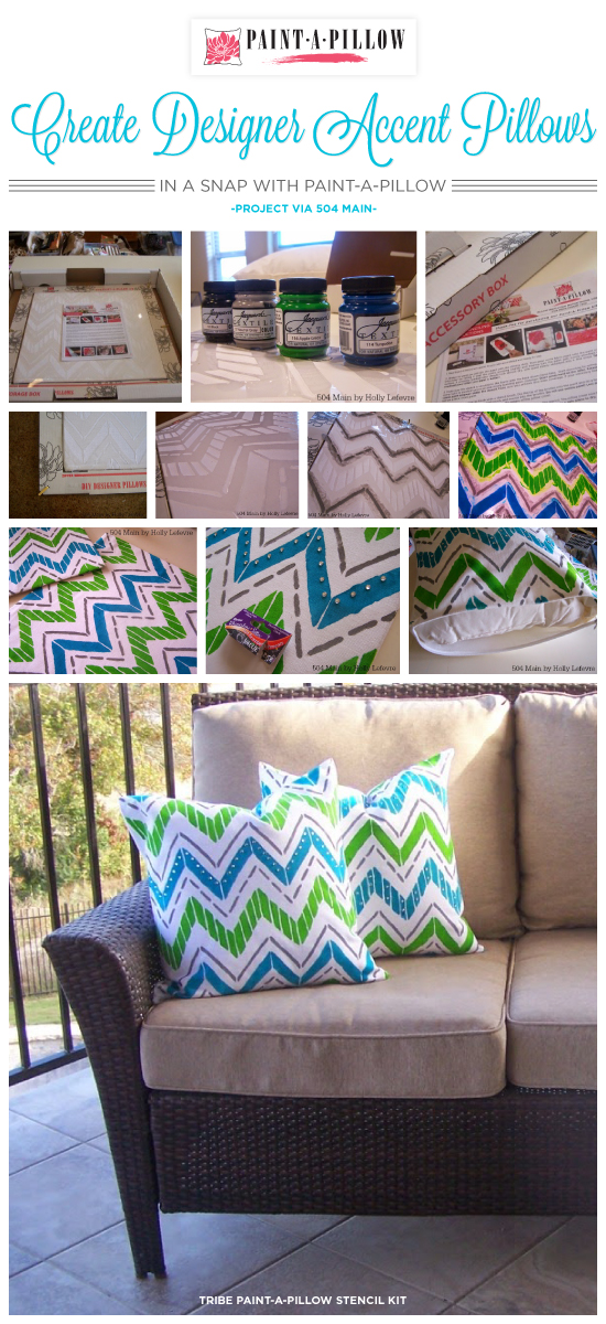 Paint-A-Pillow shares how to create DIY designer accent pillows using the Tribe stencil pattern in a snap. http://paintapillow.com/index.php/tribe-paint-a-pillow-kit.html